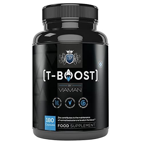 T-Boost - Testosterone e Massa Muscolare - 180 Capsule Vegetali - Contiene 14 Ingredienti Attivi - Vitamina D, B6, A, K, Zinco, Maca, Fieno Greco, Magnesio e Acido Folico - Integratore Senza Glutine