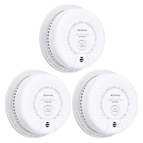 X-Sense SD03 10-Year Battery Smoke Alarm, ETL Listed Fire Alarm with Photoelectric Sensor, Auto-Check & Silence Button, 3-Pack