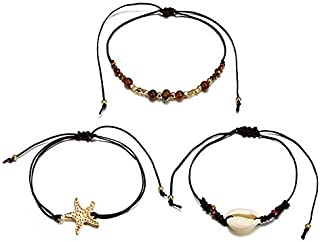 FILOL Girl's Double Layer Anklet Jewelry Boho Bohemian Alloy Rice Beads Shell Hand-Woven Multilayer Ankle Bracelet Dress Accessory