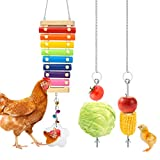 Woiworco 3 Packs Chicken Toys with 8 Metal Keys, Chicken Xylophone Toys for Hens, Chicken Mirror, Vegetable Hanging Feeder for Chicken