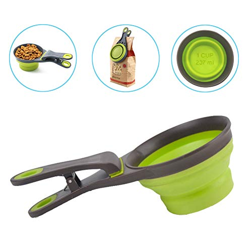 Best Prices! PGFUN Pet Food Scoop, Collapsible Silicone Measuring Cup, 3 in 1 Klip Scoop for Cat Dog...