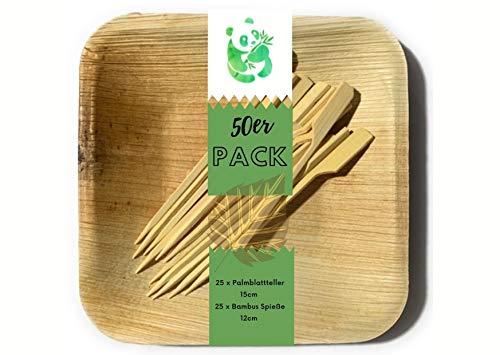 Grüner Panda 50er Pack 25 Stück eckig 15x15cm Palmblatt Teller 25 Stück 12cm Spieße|Bio Palmblattgeschirr |100% biologisch abbaubar|umweltfreundlich Snackteller
