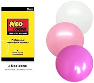 Neo LOONS 10 inch Standard White & Pink & Fuchsia Premium Latex Balloons for Birthdays Weddings Receptions Baby Showers Decorations, Pack of 100