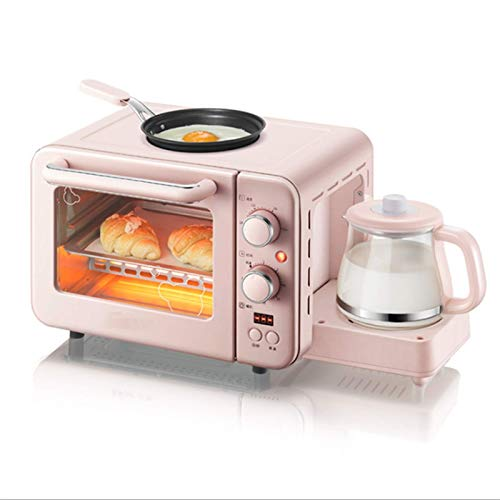 Mini Horno Tostador, máquina de Desayuno 3 en 1 multifunción, cafetera de Goteo para el hogar, Pan, Pizza, Horno, sartén, tostadora, Desayuno Familiar, freidora de Aire