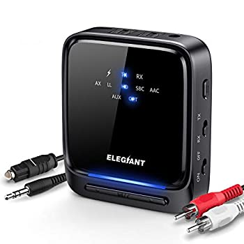 [Upgraded] ELEGIANT Bluetooth 5.0 Transmitter Receiver for TV Home Stereo System LED Wireless Audio Adapter APTX Low Latency Built-in Mic Pair 2 Headphones at Once Optical TOSLINK / 3.5mm AUX / RCA
