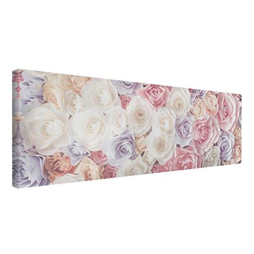 Bilderwelten Cuadro en Lienzo - Pastel Paper Art Roses - Panorama Apaisado, Cuadros Cuadro Lienzo Cuadro sobre Lienzo Cuadro Moderno Cuadro Decoracion, Tamaño: 40 x 120cm
