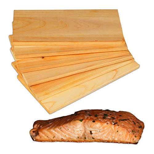 Relaxdays Räucherbretter Zedernholz, 6er Set, Räucheraroma genießen, unbehandelt, Lachs & Fleisch, BBQ, 28 x 14cm, natur