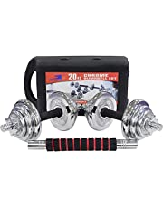 Skyland Adjustable Dumbbell Set For Unisex Adults With Connector - Chrome