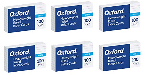 """Oxford Heavyweight Ruled Index Cards, 3"""" x 5"""", White, 100 Per Pack, Sold as 6 Pack, 600 Cards Total (63500)"""