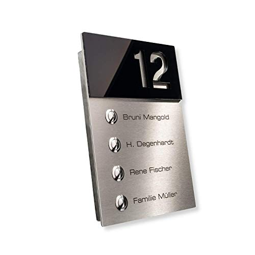 Metzler-Trade - Radio deurbel met 4 drukknoppen Modern design Black (High-gloss)