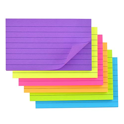 Lined Sticky Notes with Lines 3x5 Self-Stick Notes 6 Bright Color 6 Pads, 50 Sheets/Pad