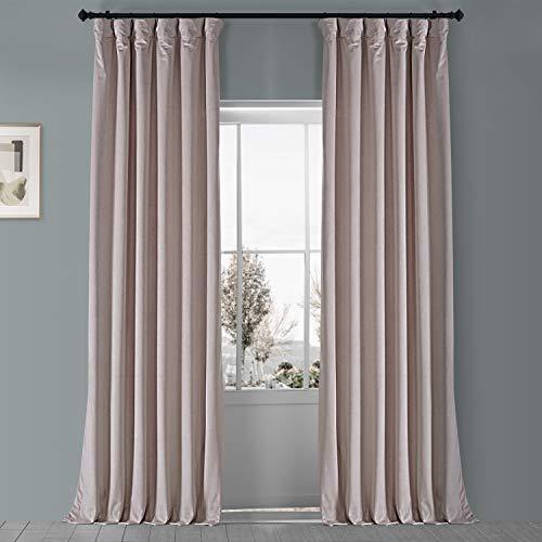 HPD Half Price Drapes VPYC-161207-96 Plush Velvet Curtain (1 Panel), 50 X 96, Ballet Pink