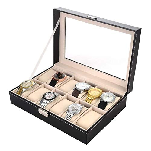 Cajas De Almacenaje Joyero Caja de Reloj de Cristal con la Tapa de Cristal 12 Ranura de la PU de los Hombres de Cuero Caja de Reloj Organizador (Color: Negro, Tamaño: 30X20X8CM)