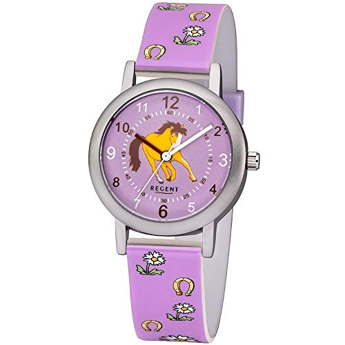 Regent Mädchen Analog Quarz Uhr mit Plastik Armband 12400269