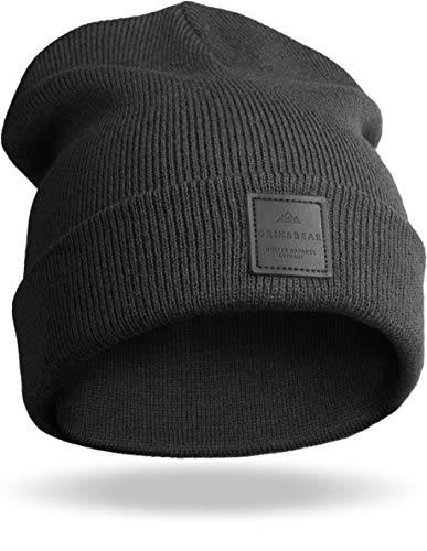 Grin&Bear Unisex Streetwear Mütze Beanie Feinstrick schwarz M65