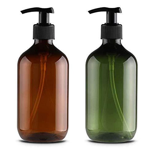 2 bottiglie vuote con pompa a pressione, 500 ml, ricaricabili, per salse, dispenser di sapone liquido in plastica, contenitore ricaricabile per cucinare salse, oli essenziali, lozioni
