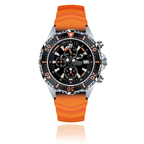 CHRIS BENZ Depthmeter Chronograph 300M Taucheruhr mit orangem Kautschukband, Korallenorange