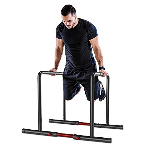 YOLEO Barras Paralelas Calistenia Adjustable, Dip Bar Fitness, Push Up Bars de Inmersión, Altura y Ancho Ajustables, Acero, Negro… ⭐