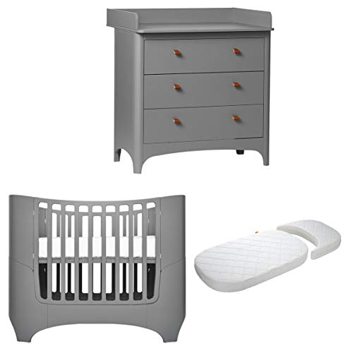 Leander Baby-, Kinderbett + Juniorbett Classic inkl. Matratze in grau + Leander Classic Wickelkommode mit 3 Schubladen in grau
