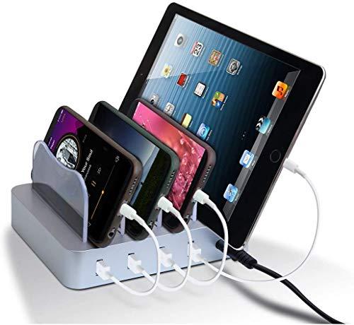 Estación de Carga USB Multifunción con 4 Puertos, Qi Certificación con Interruptor Cargador Base de Carga, Compatible con iPhone, Android, Galaxy Samsungs, Huawei, Tabletas