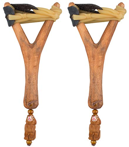 AceCamp 2 x Steinschleuder aus Holz, Retro Schleuder, Zwille, Futterschleuder, Schlauchgummi und Lederhalter, Doppelpack, 8400