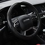 Rueesh Microfiber Leather Steering Wheel Cover Anti-Slip Matte Finish Auto Car Wheel Cover Universal 15 Inch Wheel Cover for Car Embossing Pattern Black Line