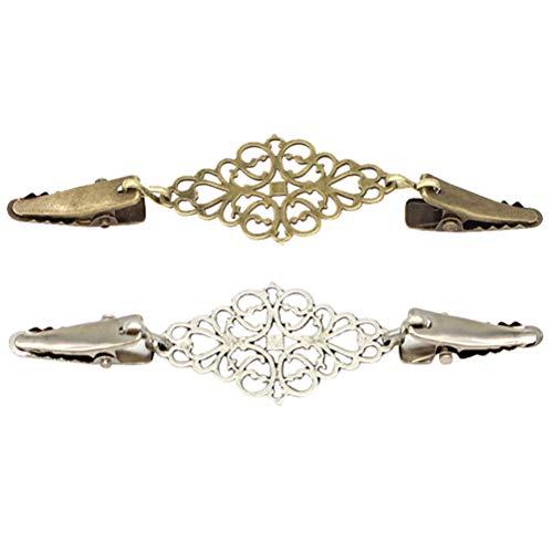FENICAL 2pcs Vintage Clip de suéter Clip Cardigan retro Clip de cuello con incrustaciones de corbata mantón Clip (bronce antiguo y plata antigua)