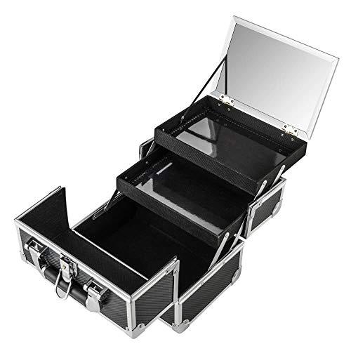 AMASAVA Mallette Maquillage Beauty Case Valise Maquillage Coffret cosmétique Boîte à Maquillage avec Miroir et clé Coffrets Professionnelle - 25.5 × 19.5 × 22cm(Noir)