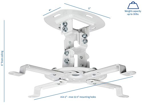 VIVO Universal Adjustable White Ceiling Projector | Projection Mount Extending Arms Mounting Bracket (MOUNT-VP01W)