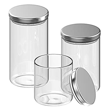 Inmount 3 Piece Canister Set, Multi-size Round Clear Glass Stainless Steel Lid Sealed Bottle, Large Airtight Borosilicate Jars For Storage Suger Tea Coffee Beans and Ground Coffee