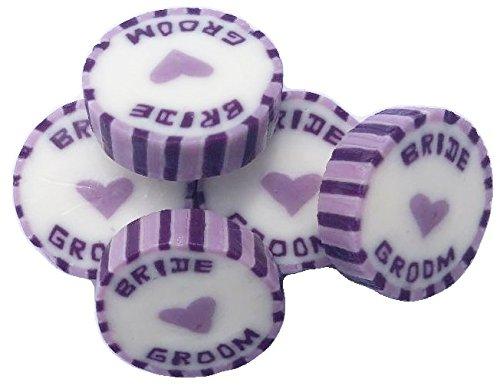 100 x Lila & Paars Bruiloft Favor Verpakt Snoepjes met Bruid en Groom. Zomer Vruchten Smaak