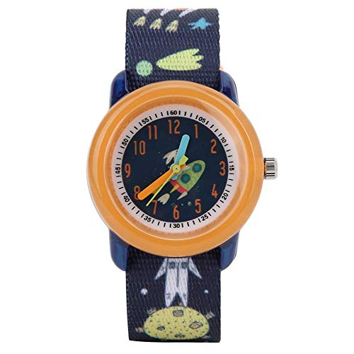 Kinderuhr, wasserdichte elektronische Armbanduhr Cartoon Quarzuhr mit Bandarmband für Kinder Kleinkind Jungen Mädchen 2-13 Jahre alt(Orange)