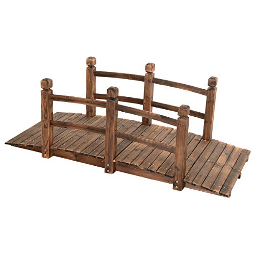 Wooden Garden Bridge Fir Wood With Stained Finish Strong Construction Solid Arch Frame Pond Creek Yard Backyard Arch Archway Walkway Decorative Décor Patio Outdoor Furniture 225LBS Weight Capacity