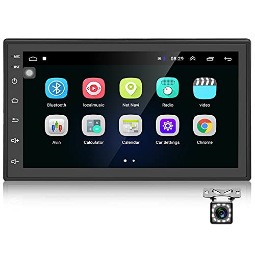 Podofo Autoradio GPS Navigation Car Radio Bluetooth WiFi Car Stereo 2 DIN Android 7 Pollici 1080P HD Touch Screen MP5 Player + Radio FM + Rear View Fotocamera