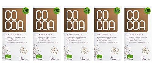 Raw Cocoa Bio Schokoladentafeln 5 x 50 g (Hell mit Kokos)