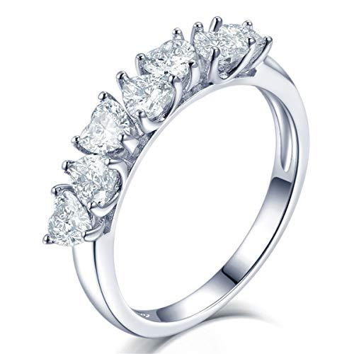 Qiuaii Damen S925 Versilbert Kreativer Herzförmiger Diamant Ehering Mode Schmuck Silber,Größe 57 (18.1)