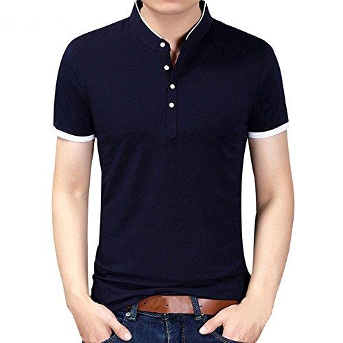 zhxinashu Manga Corta Casual Slim Fit Camiseta para Hombre Camisa de Moda de Verano (Azul Marino)