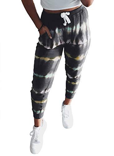 Dokotoo - Pantalones deportivos para mujer, de algodón con cintura elástica y bolsillos, estilo casual moderno, para trotar, Suave, M, Verde camuflaje