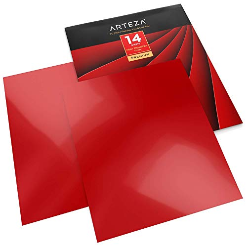 Arteza Vinilo textil termoadhesivo rojo| 25,4 x 30,5 cm | Caja de 14 hojas | Vinilo térmico resistente, fácil de pelar y sin tóxicos | Apto para cualquier máquina de corte | Vinilo rojo para telas