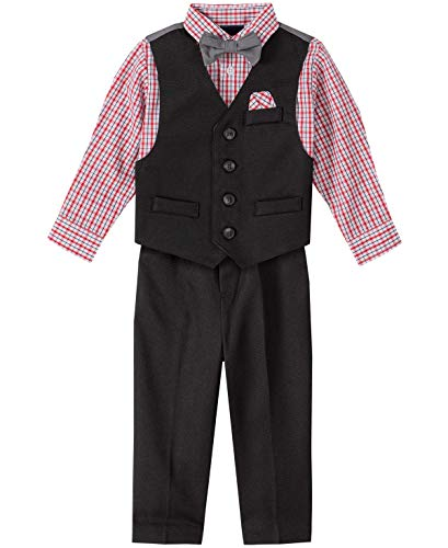 Nautica Baby Boys 4-Piece Set with Dress Shirts, Vests, Pants, and Bow Ties, Textured Black, 12 Months