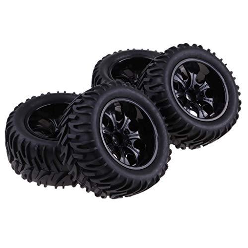 4 llantas hexagonales de 12 mm y neumáticos de goma para 1/10 RC Crawler Monster Truck Car - Negro F
