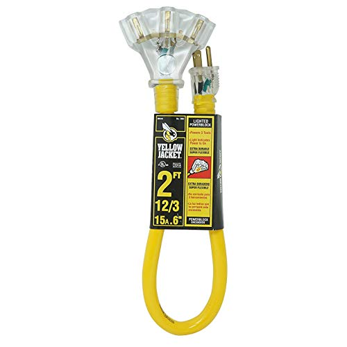 Yellow Jacket 2882 12/3 Heavy-Duty Durable SJTW Premium Contractor-Grade Inside/Outside 3 Outlet Extension Cord