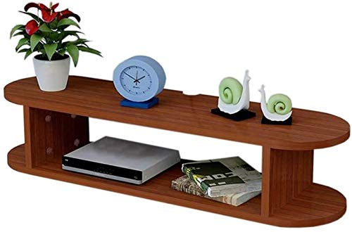 Rack Router Televisione flottante Controllo televisivo Appeso Cabina Armadio Cabina Armadio Cavo Dvd Scaffale Decorativo .Rack del Server (Color : Brown)