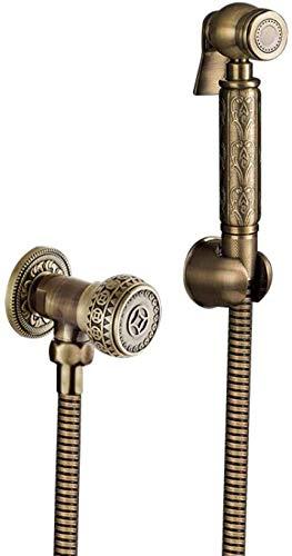 Toilet Bidet Faucet Mixer Antique Bronze Brass Carving Bath Shower Blow-Fed Spray Nozzle Bidet Faucet Single Cold Water Taps