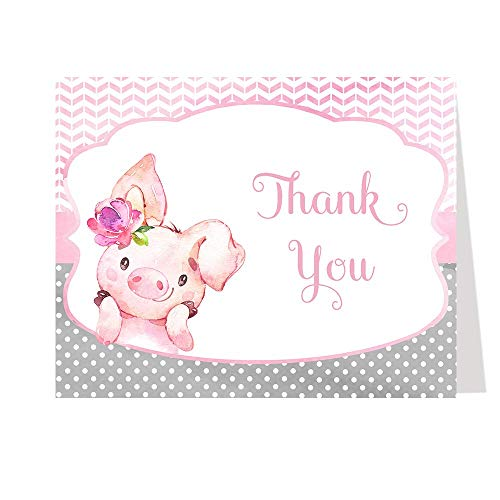 Pig Thank You Cards Little Piggy Miss Farm Baby Shower Bridal Personal Business Polka Dots Pink Watercolor Chevron Stripes Folding Notes Blank Inside (50 Count)