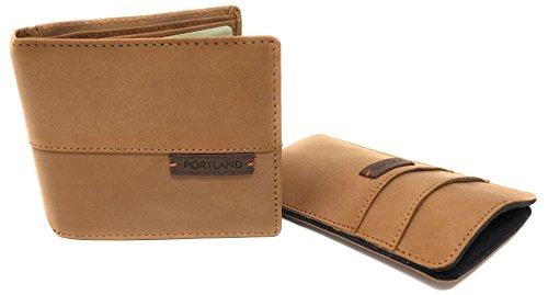 Heren Authentieke Lederen Bi Fold Portemonnee en iPhone/Smartphone Hoes, Geschenkverpakking