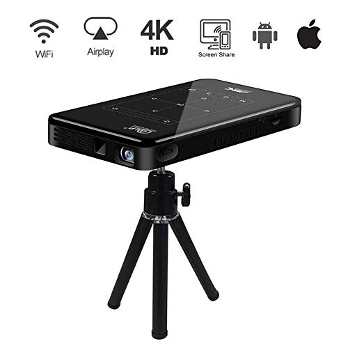 Proyector Portatil, Proyector 4K de Cine en Casa, Proyector para Movil WiFi, Touch Pad HD-IN Full HD Androd iOS Display DLP 200'' TF-Card USB, para Cine en Casa y Presentación Empresarial UK