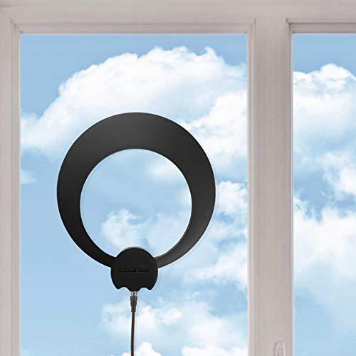 Antennas Direct ClearStream Eclipse - Antena de TV (Rango de 35 Millas, multidireccional, Agarre a Paredes y Ventanas, Cable coaxial Desmontable de 12 pies, Negro o Blanco, 4K Ready (ECL), Compacto