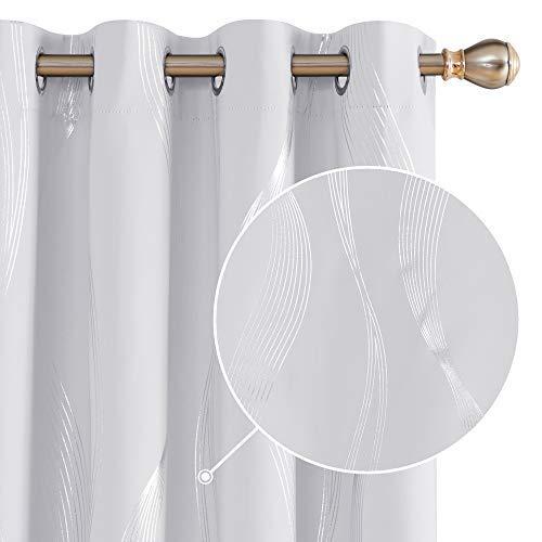 Deconovo Cortinas Opacas Diseño Líneas Onduladas Plateadas para habitación con Ojales 2 Piezas 140 x 175 cm Gris Blanco