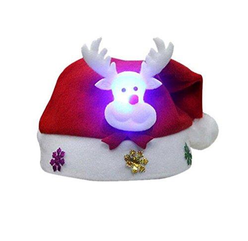 ILOVEDIY Led Weihnachtsmütze Beleuchtet Weihnachtsmann Elch Schneemann Nikolaus Mütze Xmas Mützen Für Kinder & Erwachsene (Elch, Für Erwachsene)